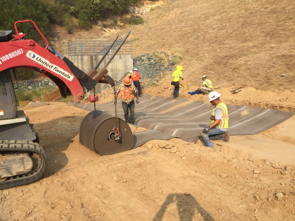 Installing Concrete Cloth at Lake Francis Dam