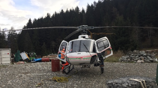 Mobilisation of all equipment by helicopter.