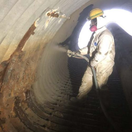 GeoTree Solutions GeoSpray applied to the walls of the culvert.