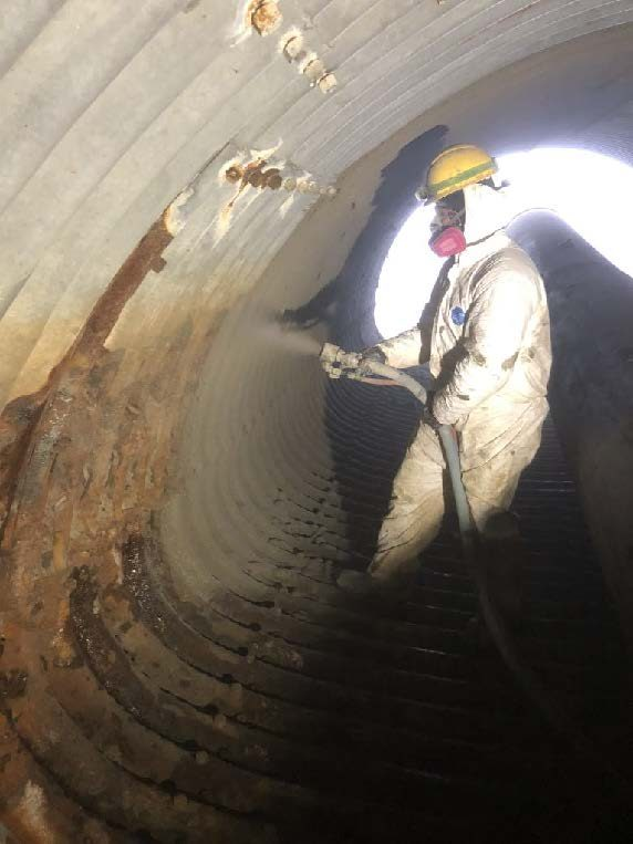 GeoSpray applied to the walls of the culvert.
