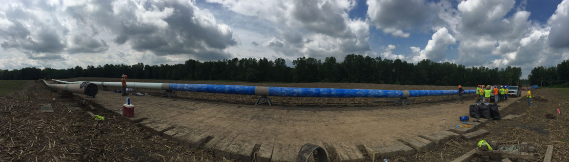 500-m (1,641-foot) section of gas pipeline prepared for installation.