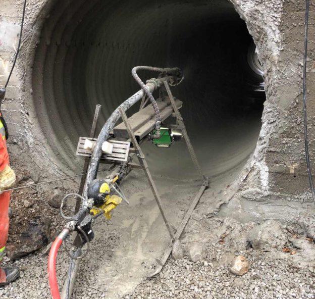 GeoSpray geopolymer being installed