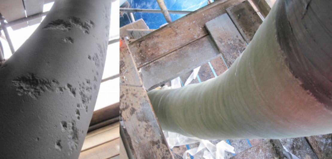 Riser repair: Before and after Contour installation