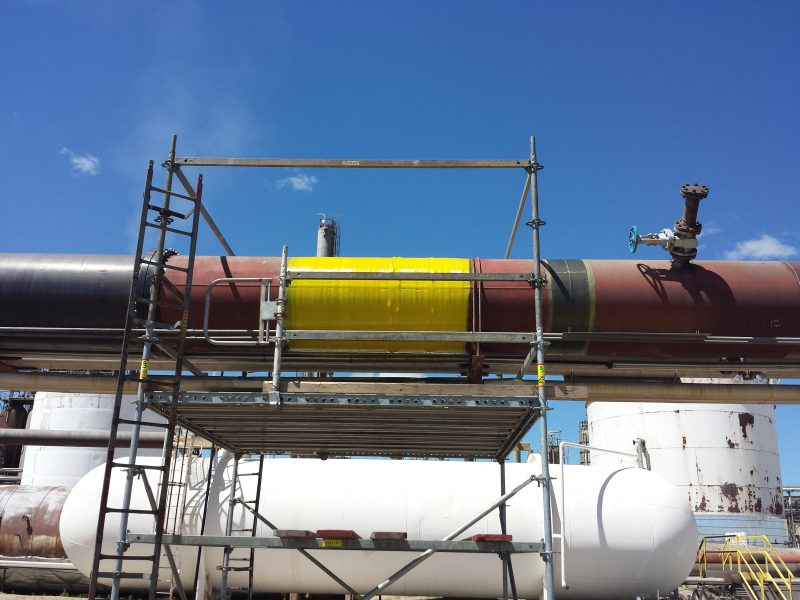 ThermoWrap Inspectable was applied to an elevated 813-mm (32-inch) diameter line.